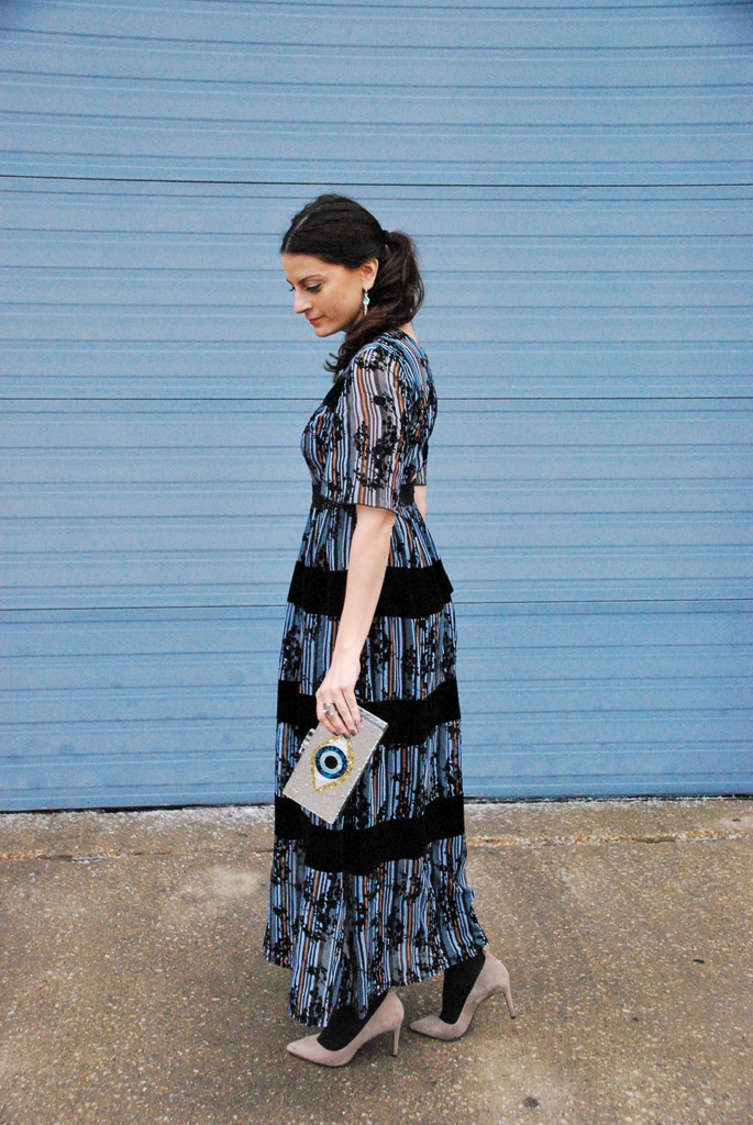 dreamy blue maxi dress with velvet and lace stripes and blue stripes