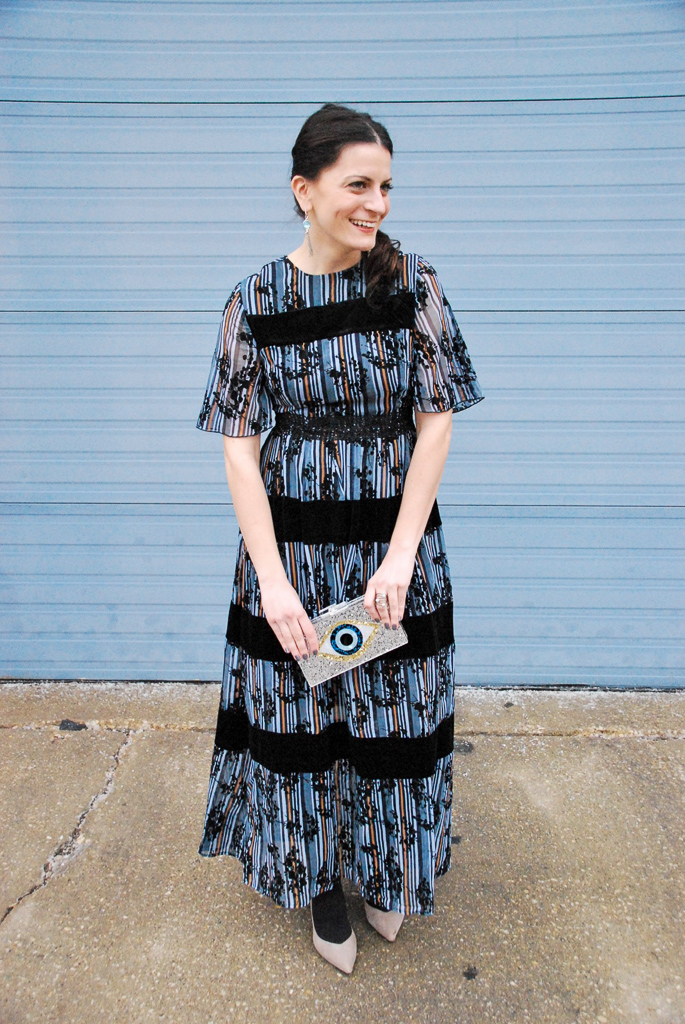 blue and black velvet striped dress