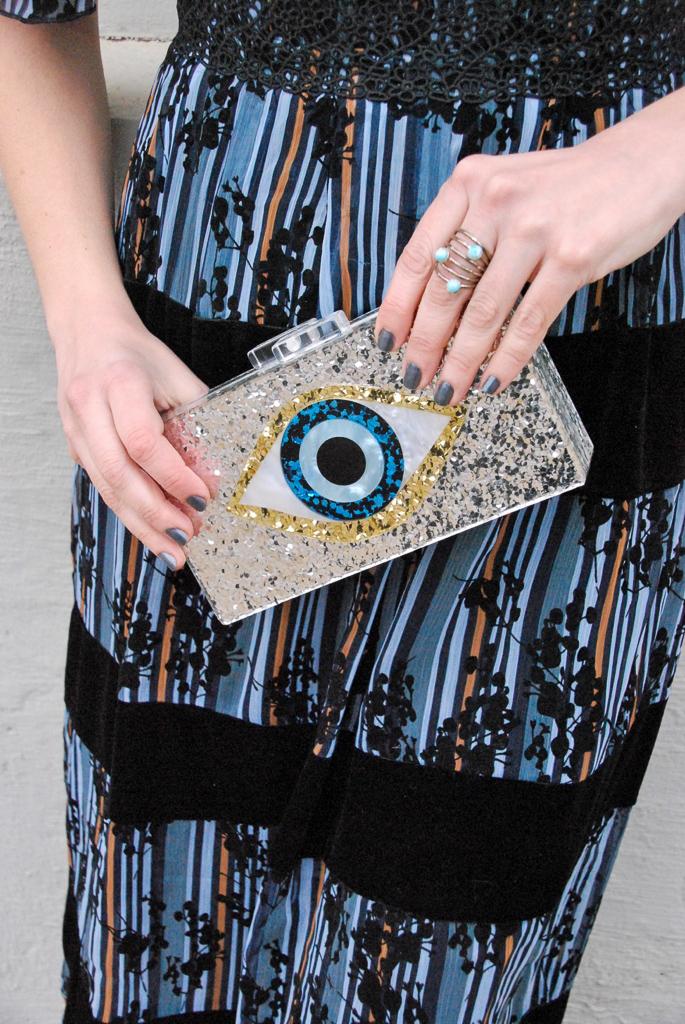 evil eye silver clutch