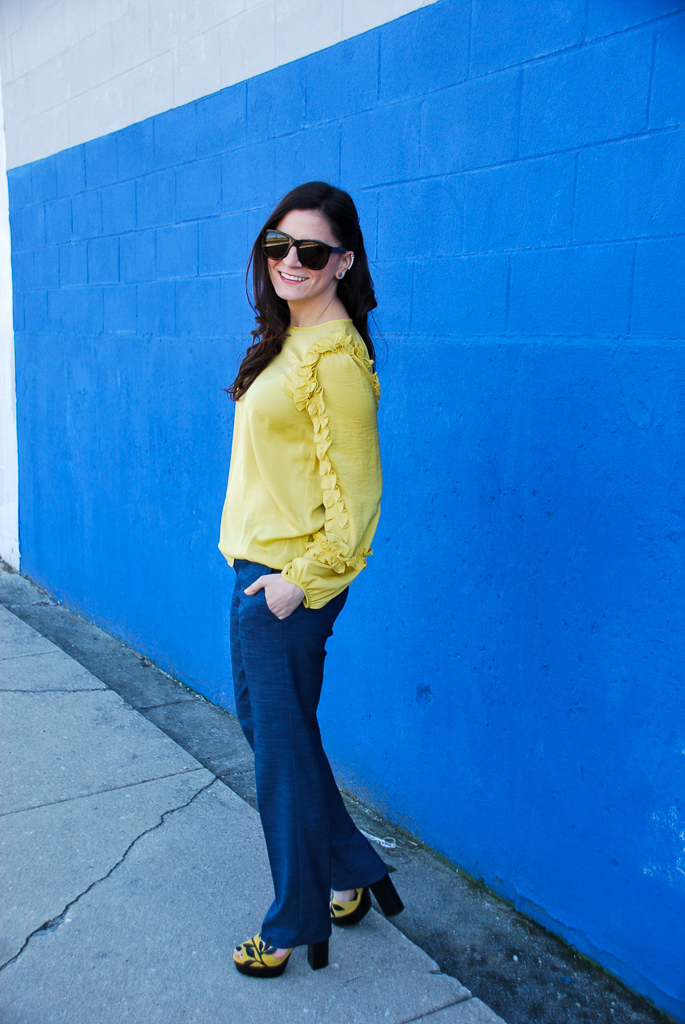 Yellow Ruffle Top and Blue Pants