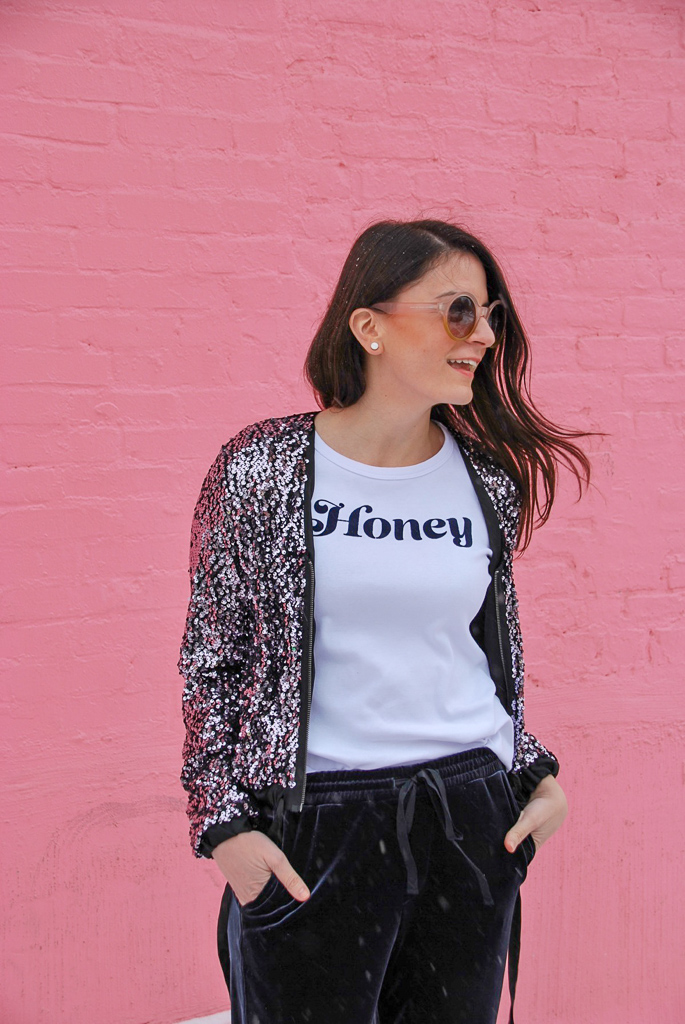 sequin cropped jacket, honey t-shirt and blue crushed velvet jogger pants