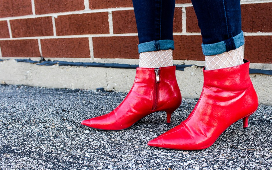 red pointy ankle booties with white fishnet socks