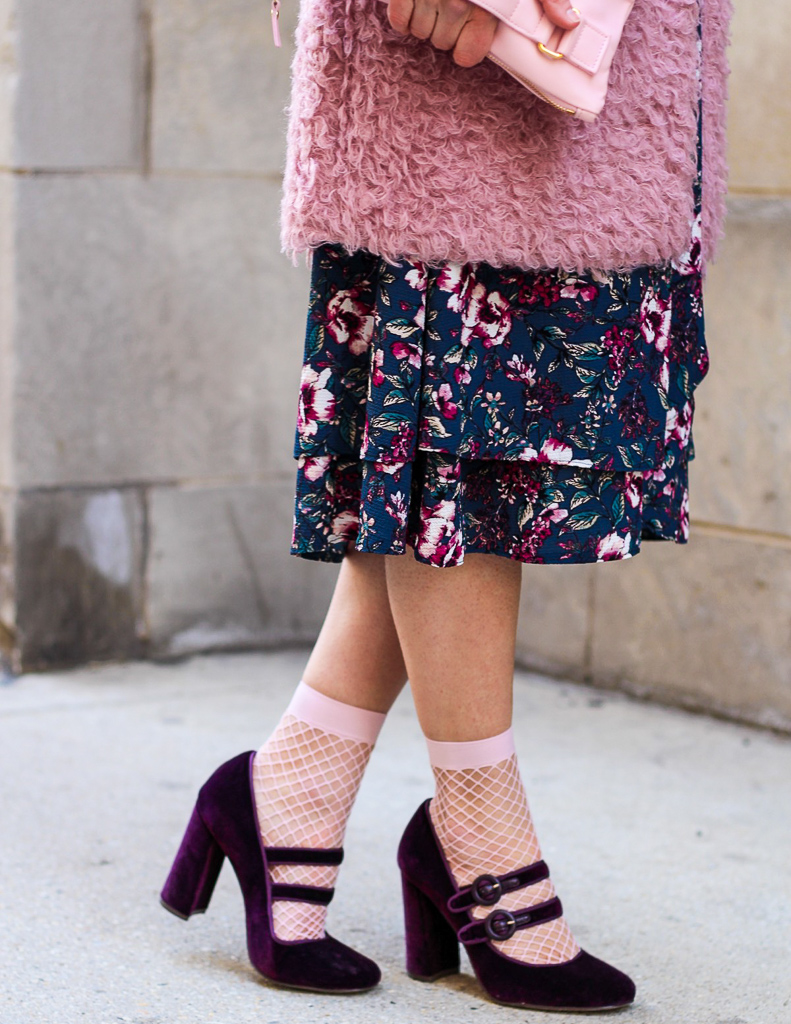 pink fishnet socks and purple velvet mary janes