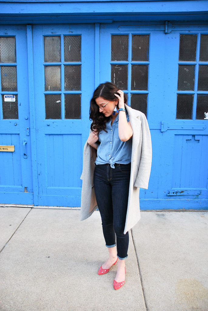 blue jeans with gray coat