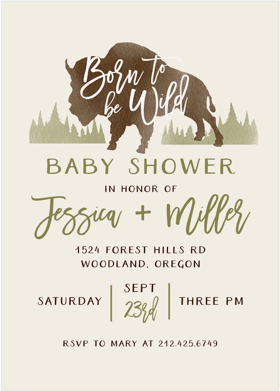 baby buffalo baby shower invite