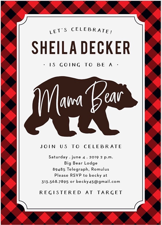 mama bear baby shower invite