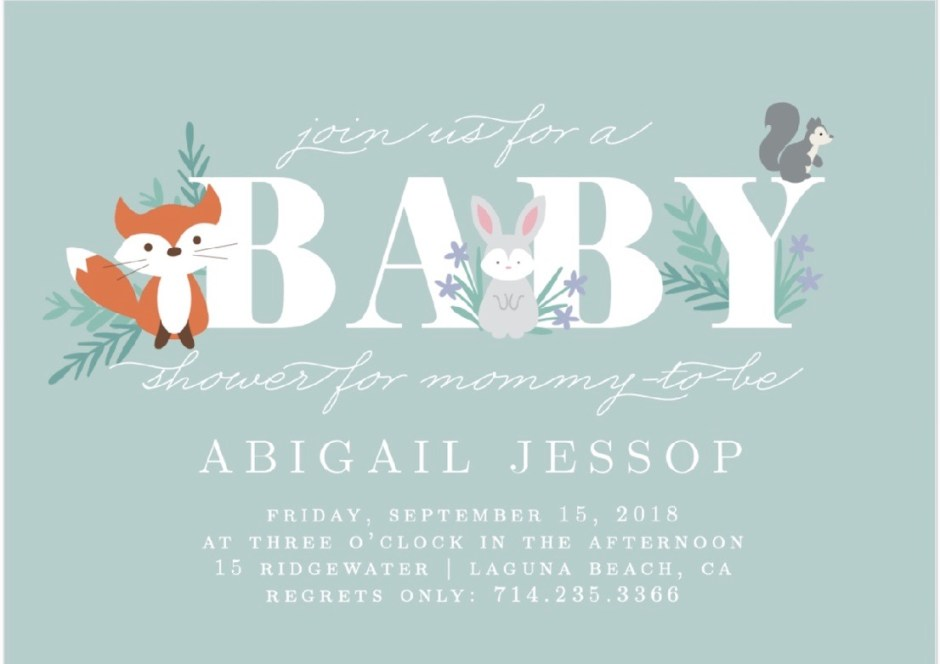 forest baby animals baby shower invite
