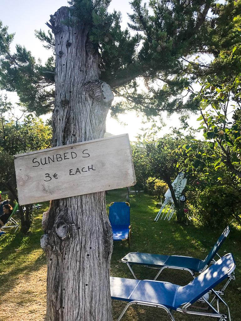 sunbeds 3 euros each