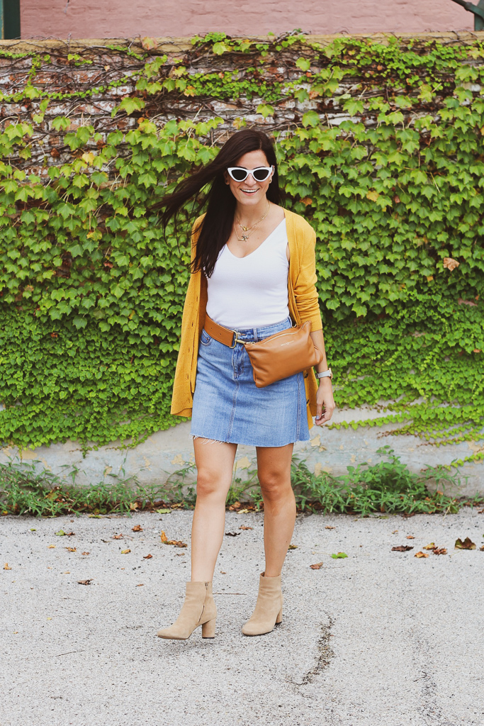 denim skirt and suede booties