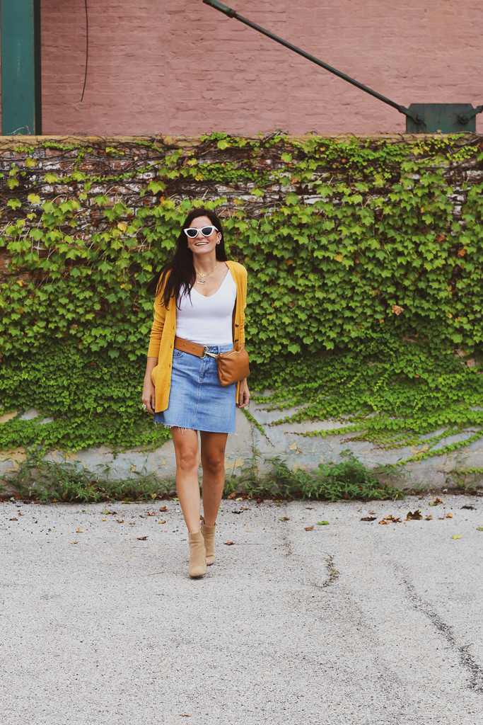 strutting into fall with a denim skirt