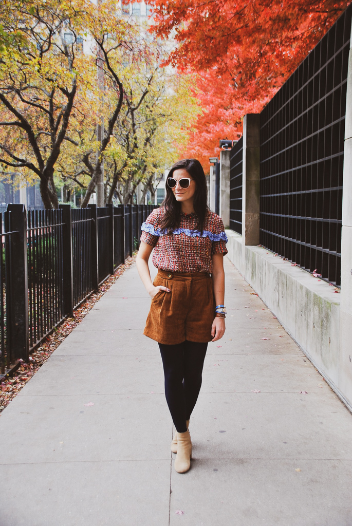 tweed top and corduroy shorts