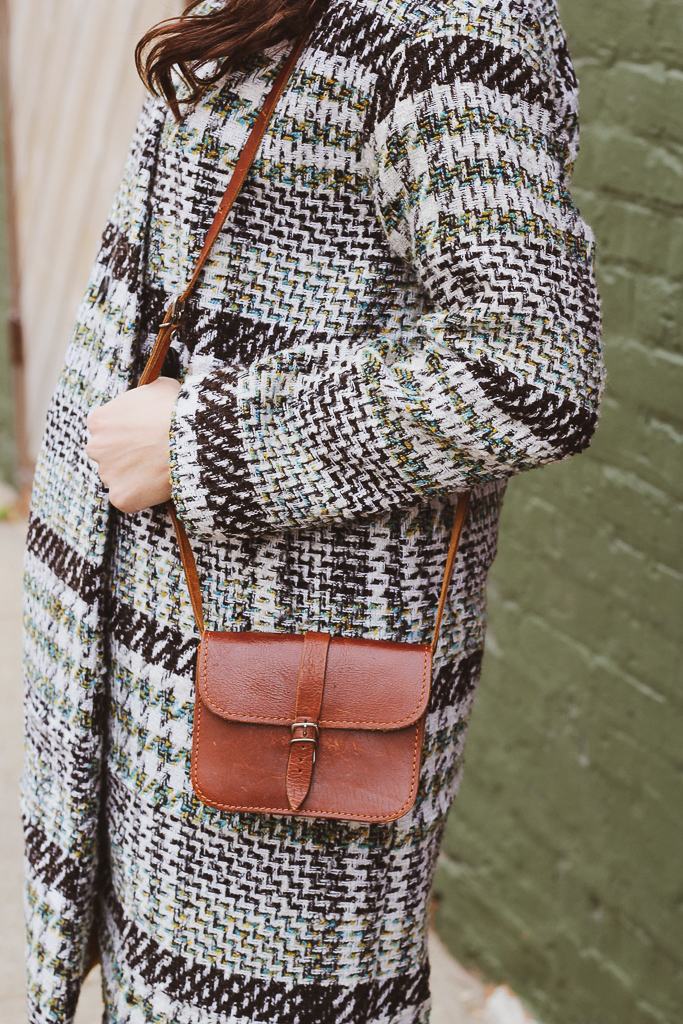 plaid and vintage leather
