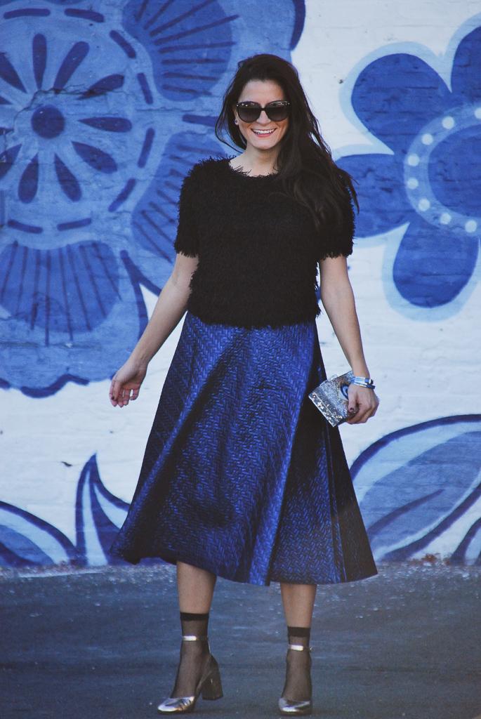 blue metallic midi skirt