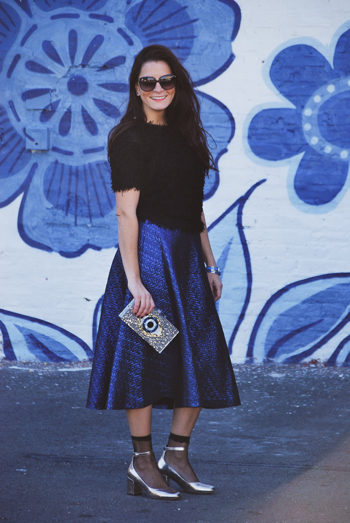 black and blue look with silver accessories