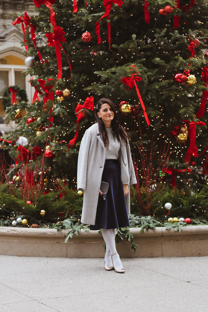 gray and blue Christmas outfit