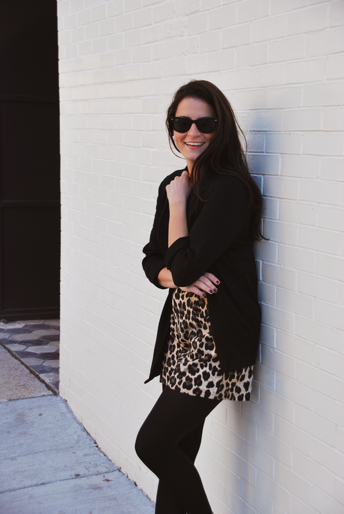 high waisted leopard shorts with black tights
