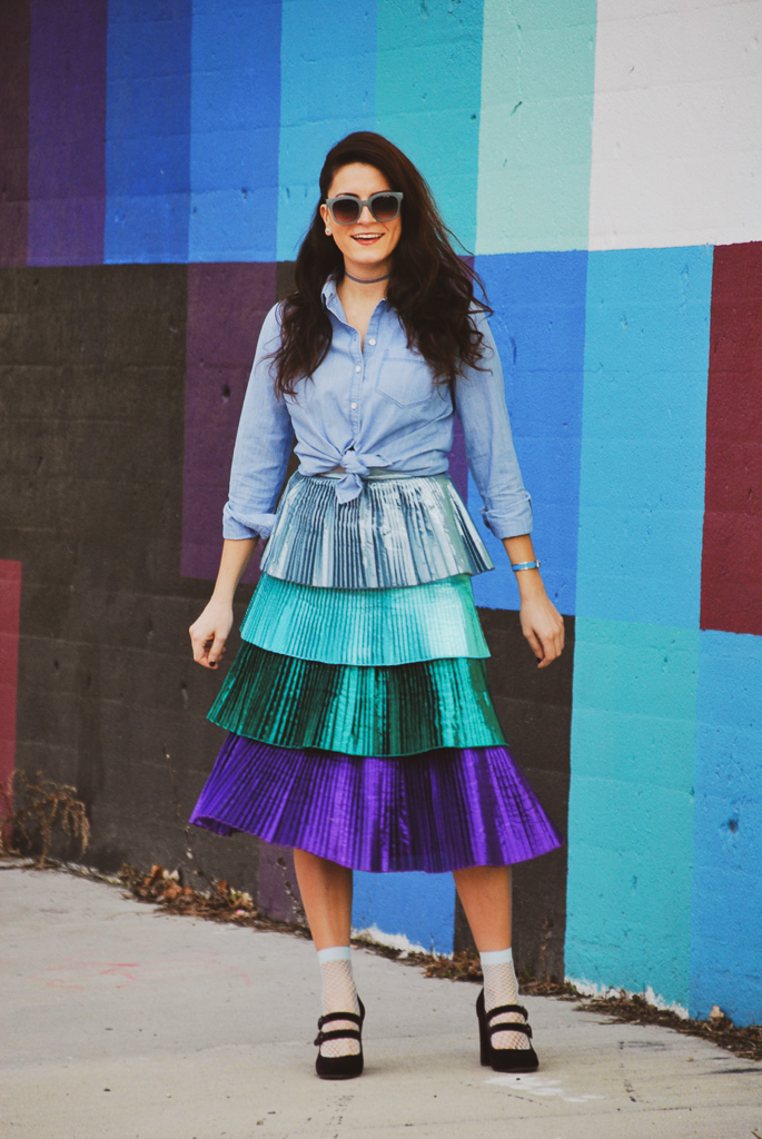 tiered metallic skirt
