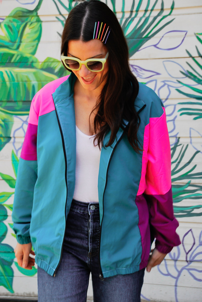 90s inspired colorful windbreaker jacket