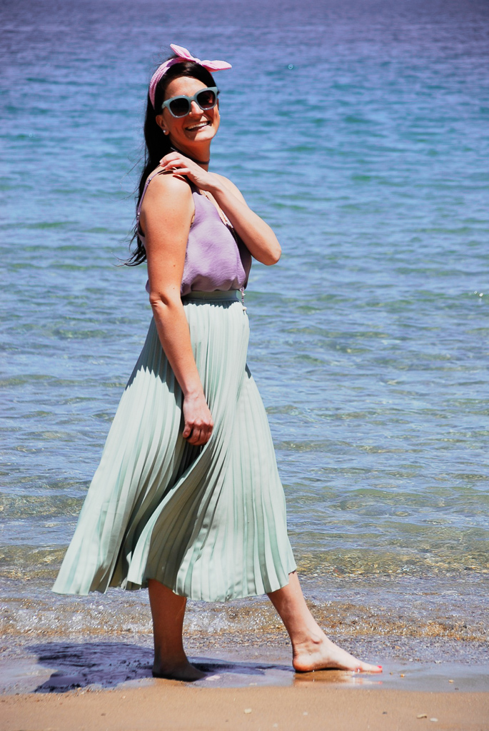 Lavender Silk Camisole and Mint Pleated Midi Skirt