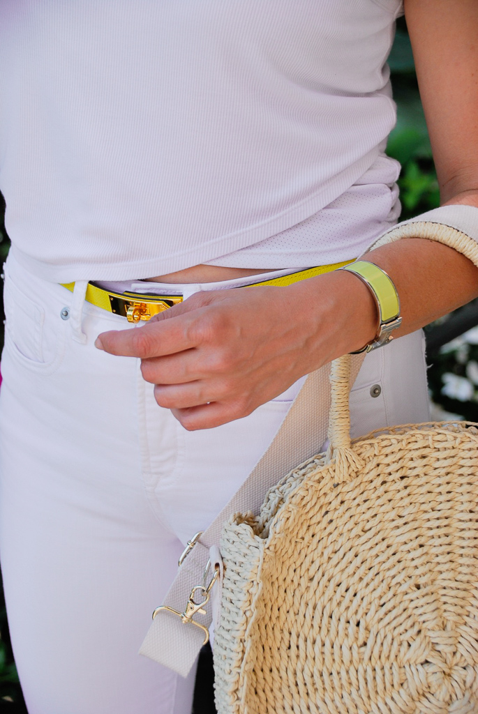 neon yellow hermes belt and h bracelet with straw circle bag