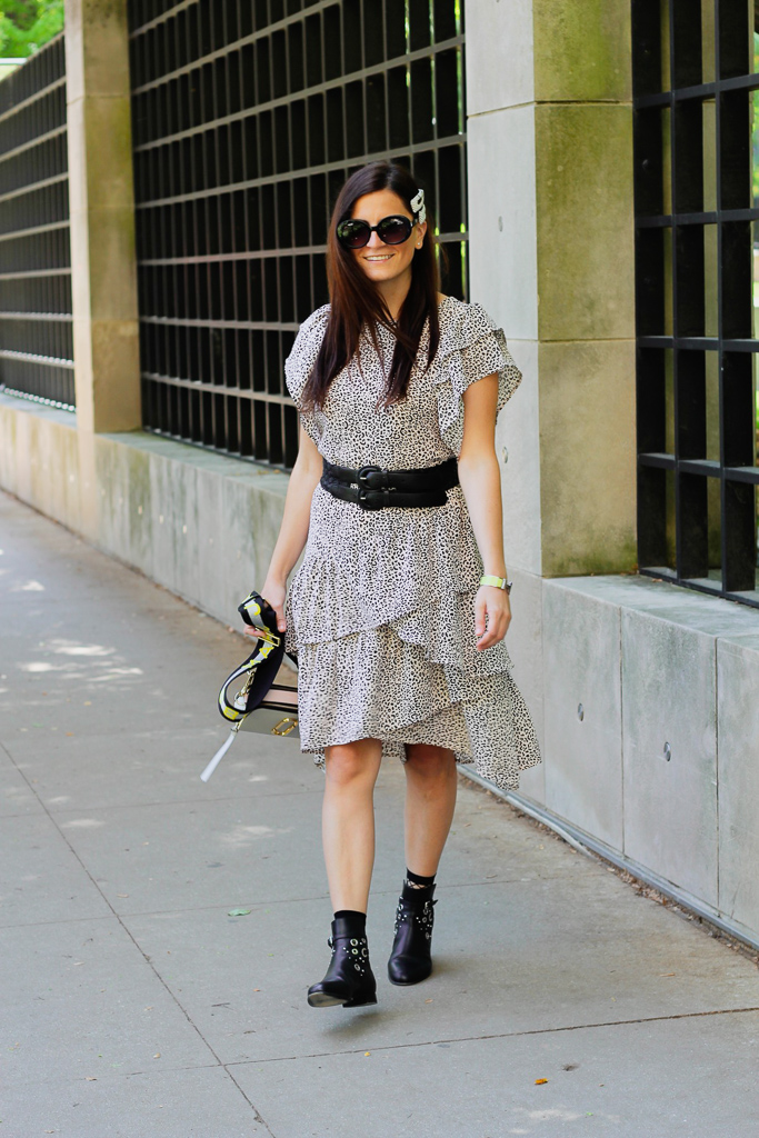 tiered dress with thick black belt