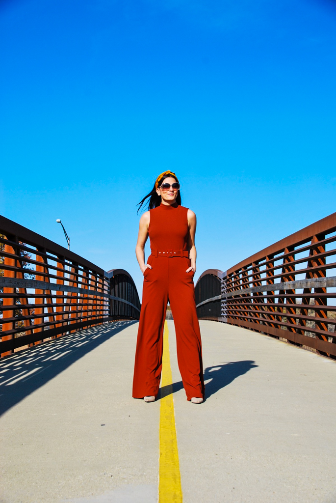 rust jumpsuit with belt