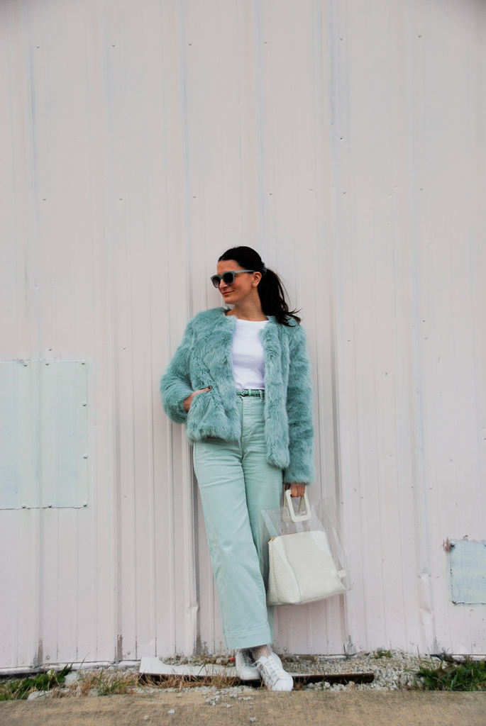 mint faux fur coat, mint jeans and mint belt