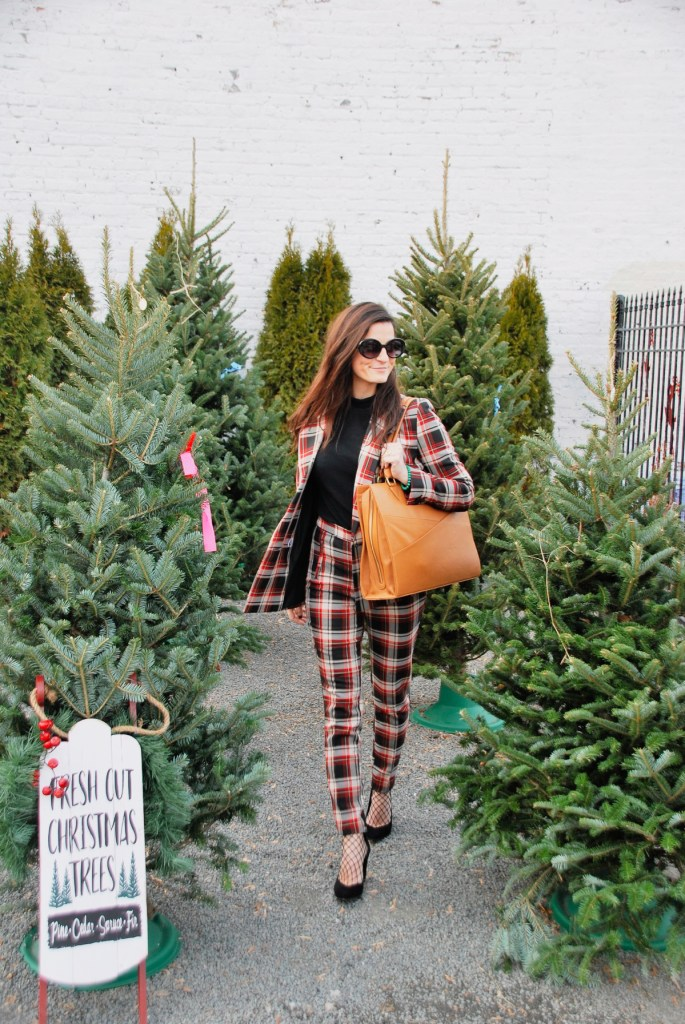 plaid h&m skinny high waisted women's suit