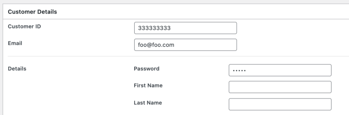 Entering in the password field