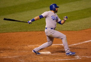 Andre Ethier hits a 2-run single to give the Dodgers a 5-4 lead in the seventh inning of a game against the Colorado Rockies at Coors Field on June 3, 2015 (Doug Pensinger/Getty Images)