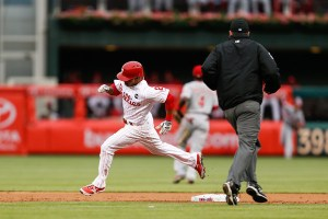 Ben Revere rounds second on his way to a triple in the first inning of a game against the Cincinnati Reds at Citizens Bank Park on June 2, 2015 (Brian Garfinkel/Getty Images)