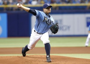 Erasmo Ramirez delivers a pitch during the first inning of a game against the Oakland A's at Tropicana Field on May 24, 2015 (Brian Blanco/Getty Images)