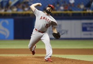 Matt Shoemaker delivers a pitch during the first inning of a game against the Tampa Bay Rays at Tropicana Field on June 9, 2015 (Brian Blanco/Getty Images)