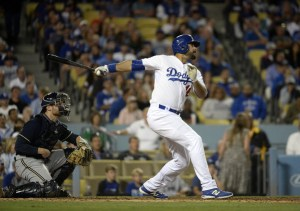 Andre Ethier hits a 2-run double during the 7th inning of a game against the Milwaukee Brewers at Dodger Stadium on July 10, 2015 (Kevork Djansezian/Getty Images)