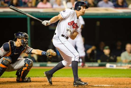 David Murphy hits a 2-run double during the 8th inning of a game against the Houston Astros at Progressive Field on July 8, 2015 (Jason Miller/Getty Images)