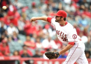 Nick Tropeano delivers a pitch during the second inning of a game against the Oakland Athletics at Angel Stadium on April 23, 2015 (Harry How/Getty Images)