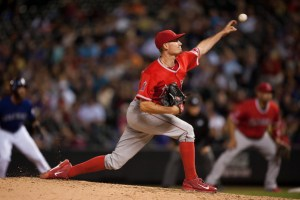Andrew Heaney delivers a pitch during the eighth inning of a game against the Colorado Rockies at Coors Field on July 7, 2015 (Dustin Bradford/Getty Images)