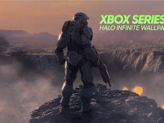 Xbox Series X Reveal - Master Chief firing Assault Rifle with Title