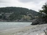 beach below bridge