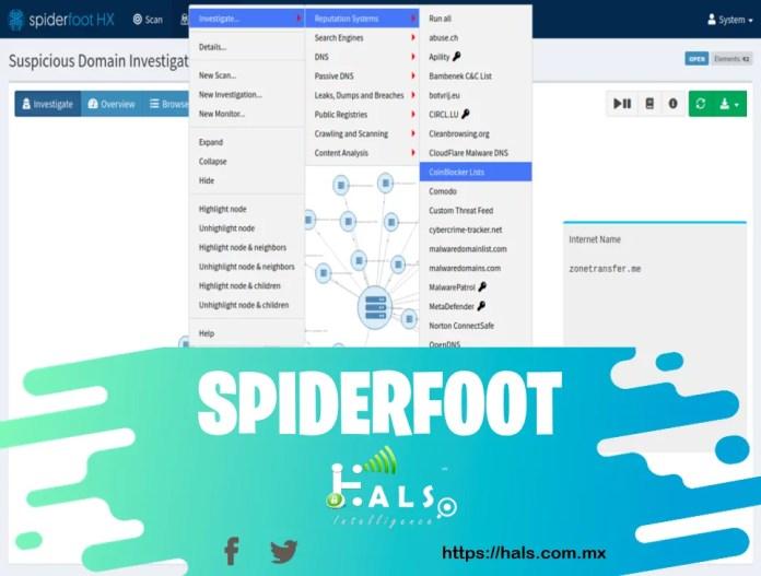 SpiderFoot, Inteligencia contra amenazas cibernética mediante técnicas OSINT, Hals Intelligence.