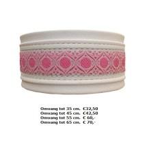witte lederen halsband, roze motieven