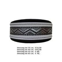 zwart witte halband, zilver sierband