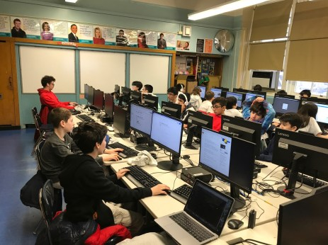 Kids in a computer Lab during a Hack-a-ton