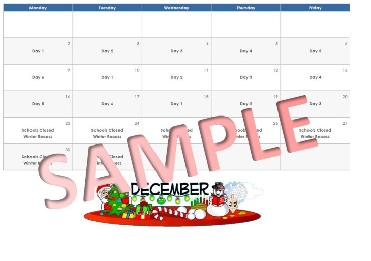 sample 6-day cycle calendar