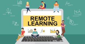 laptop with the words Remote Learning