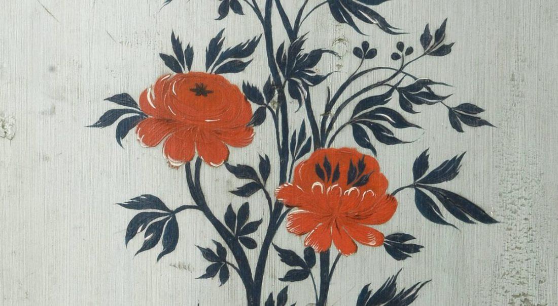 Målad vägg med blommor