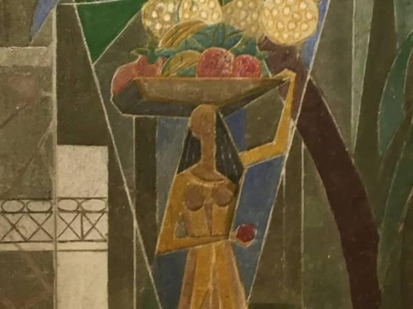 Geometrisk komposition av flicka med fruktkorg.