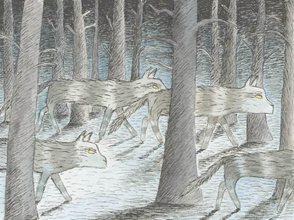 Ett motiv av Anna-Clara Tidholm föreställande vargar som går i skogen.