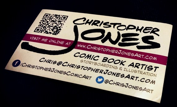 business card of comic book artist Christopher Jones, showing his twitter handle