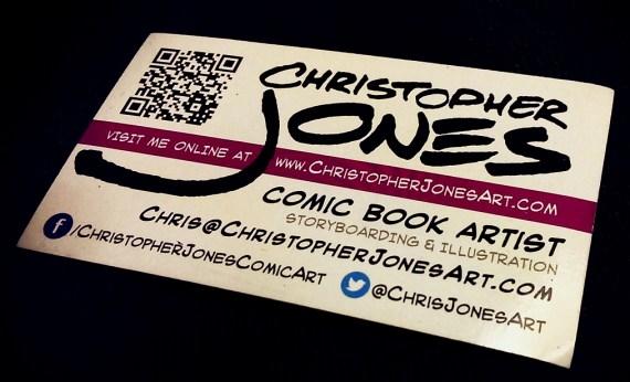 business card of comic book artist Christopher Jones, showing his twitter handle